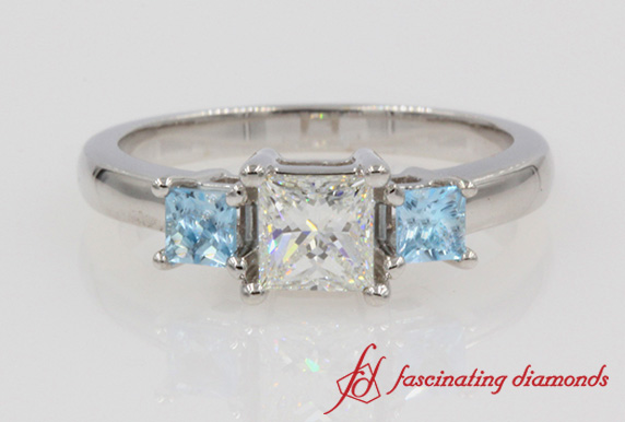 Princess Cut 3 Stone Blue Topaz Ring