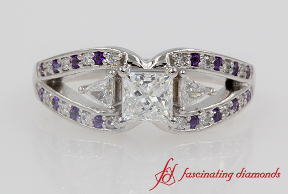 Princess Cut Butterfly Engagement Ring With Violac Topaz In White Gold