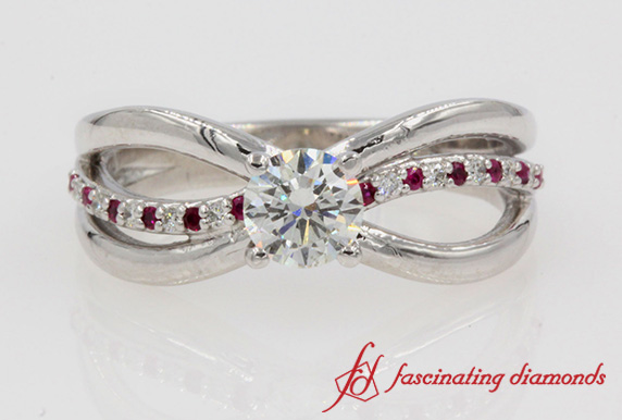 Reverse Split Shank Diamond Engagement Ring In White Gold