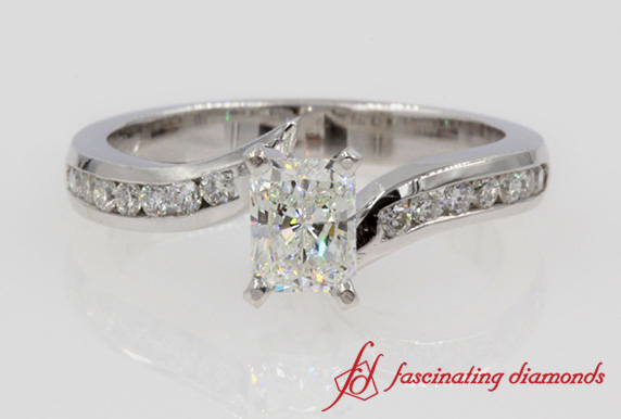 Twist Channel Radiant Diamond Wedding Ring