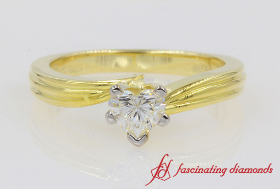Twisted Heart Solitaire Engagement Ring In 18K Gold-FDENR6677HTR