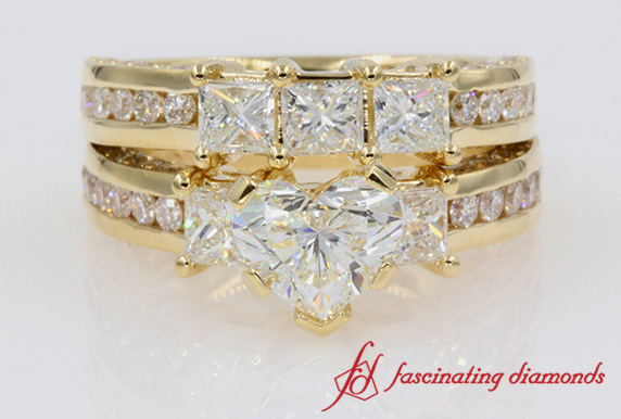 Womens Diamond Wedding Ring Set In Yellow Gold-FDENS1097H