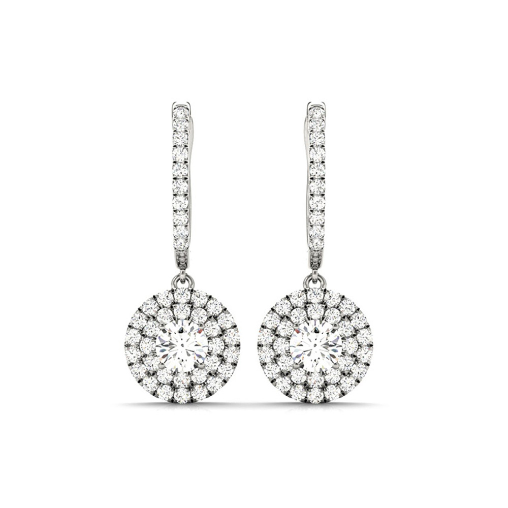 Halo Diamond Earrings For Womens