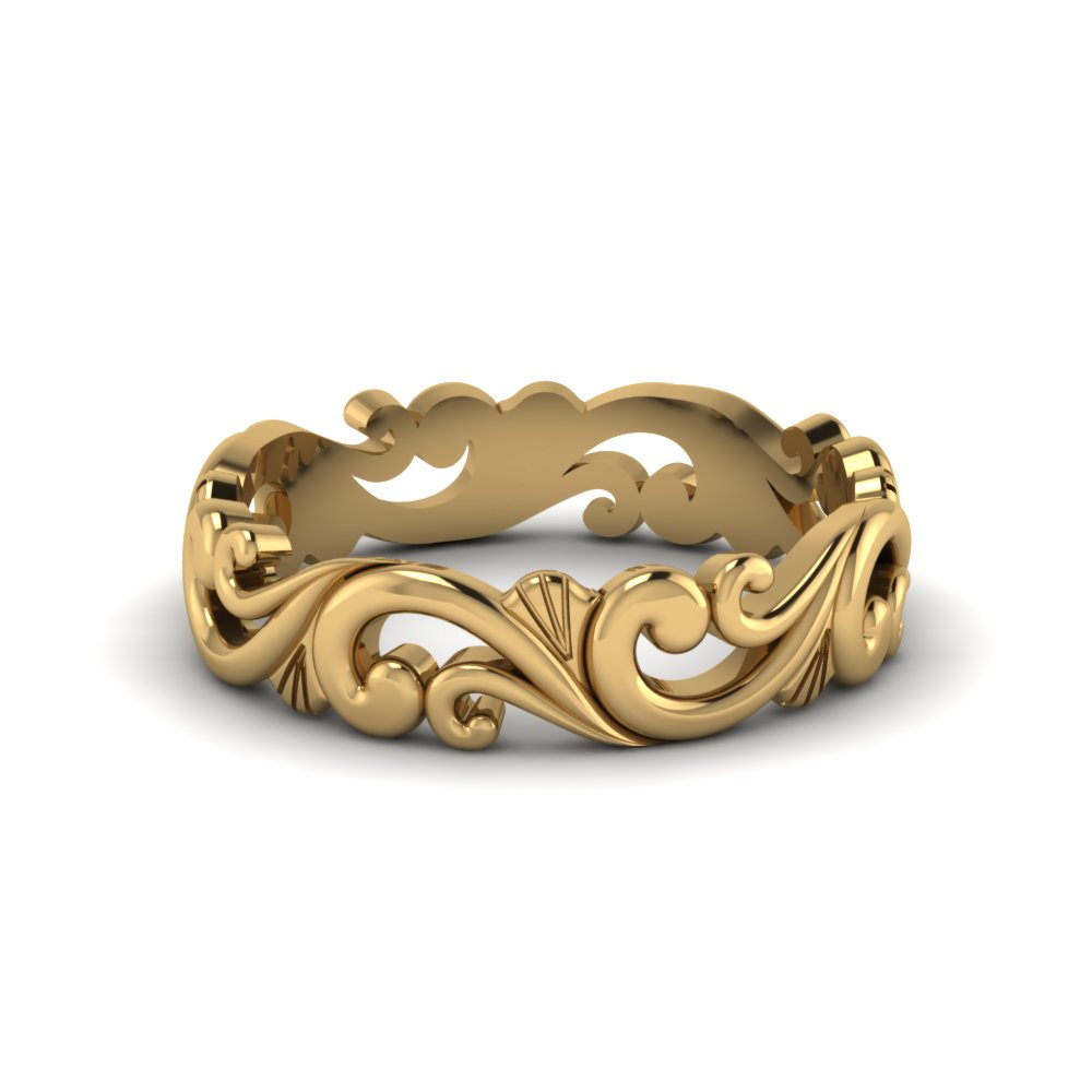 Filigree Simple Gold Wedding Band For Women In 14k Yellow Fd8760b Nl Yg