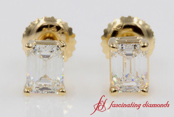 One Carat Emerald Cut Screw Earring