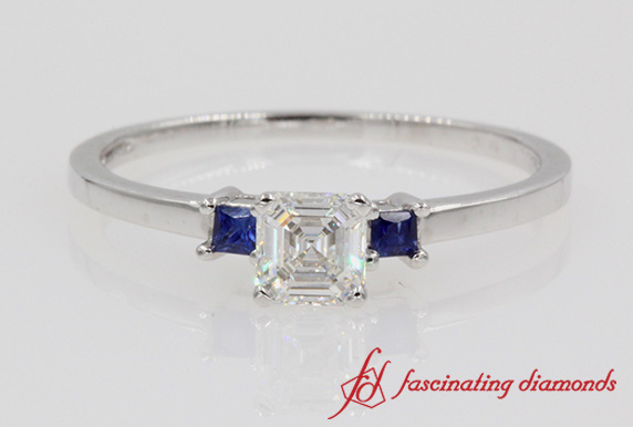 Asscher 3 Stone Diamond Engagement Ring With Sapphire In Platinum