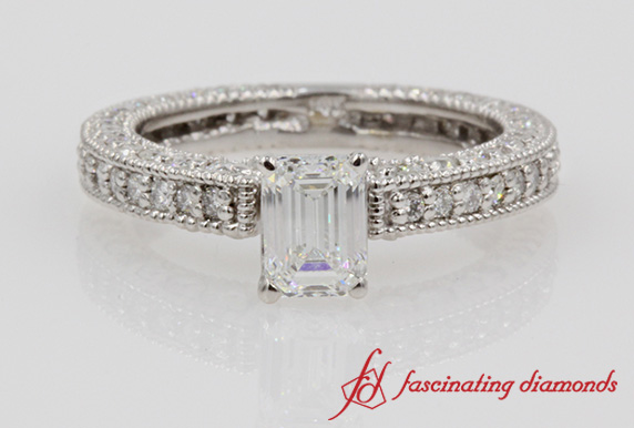 Emerald Cut Diamond Vintage Wedding Ring