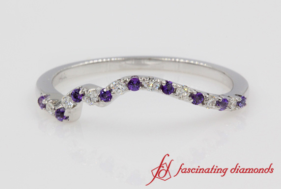 Customized Contour Wedding Band With Violet Topaz In White Gold