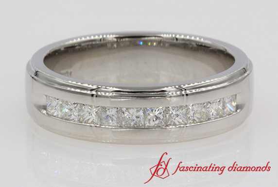 Customized Princess Cut Channel Wedding Band