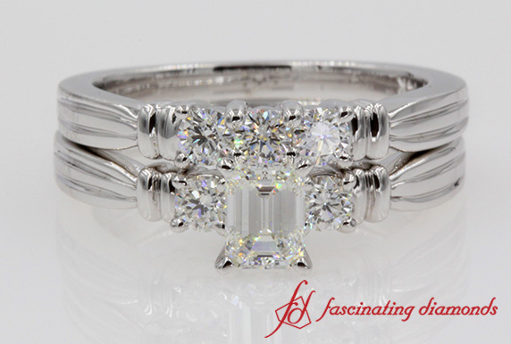Emerald Cut Tapered Wedding Ring Set