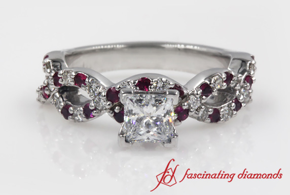 Infinity Princess Cut With Ruby Engagement Ring In 18k White Gold
