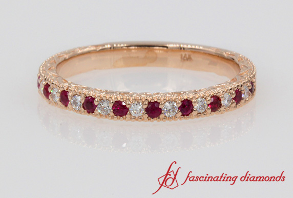 Hand Engraved Ruby Band