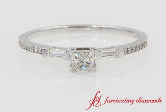 Baguette With Princess Cut Engagement Ring