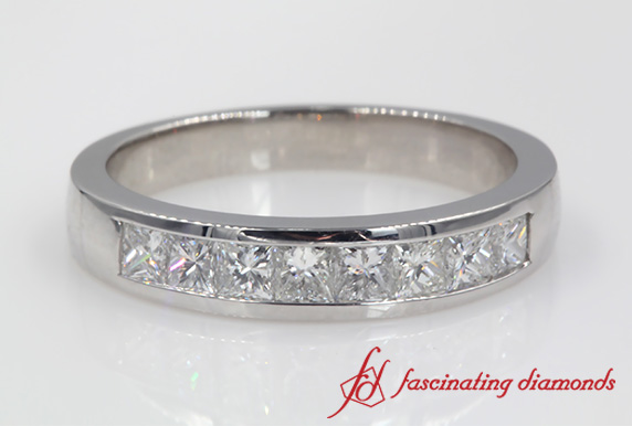 Princess Cut Channel Set Band