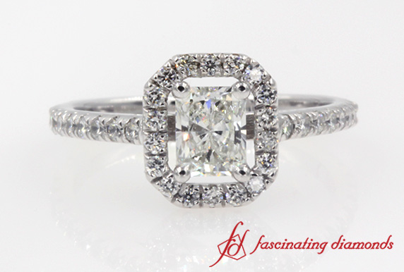 Radiant Cut Halo Diamond Engagement Ring