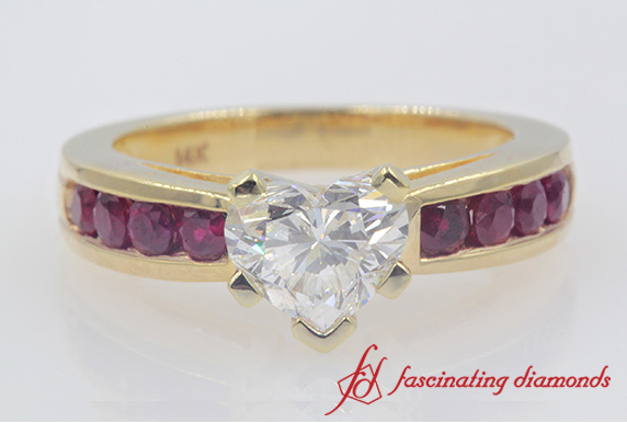 Ruby & Diamond Heart Engagement Ring