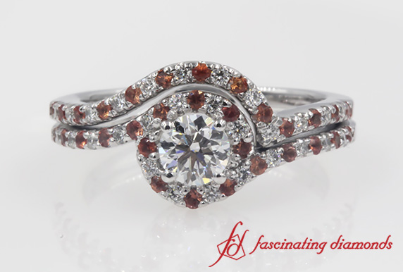 Swirl Halo Diamond Engagement Ring Set