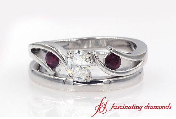3 Stone Ring With Plain Band