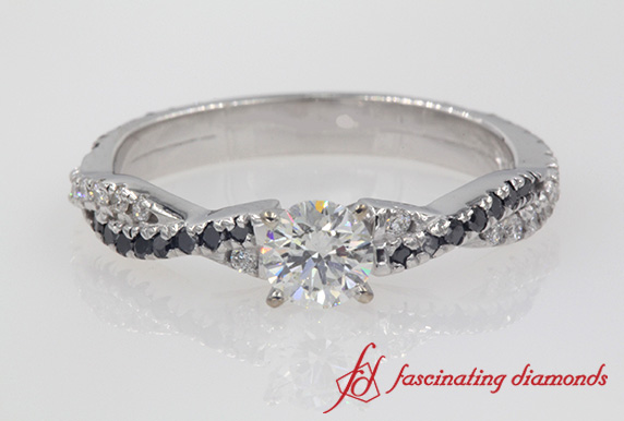 3/4 Carat Twisted Black Diamond Ring
