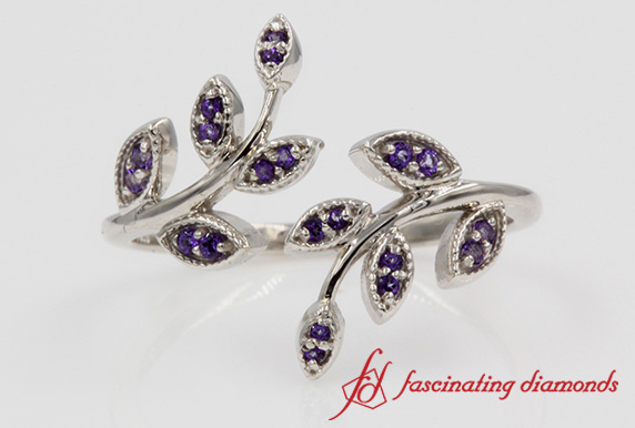 Purple Topaz Open Leaf Ring