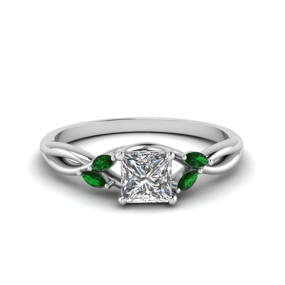 Emerald Split Shank Wedding Rings