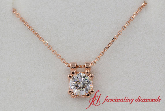 0.30 Carat Rose Gold Diamond Solitaire Pendant