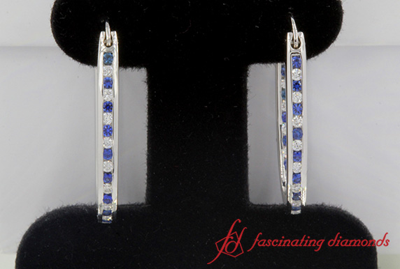 0.50 Ct. Diamond Hoop Earrings In White Gold