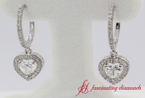 1.39 Ct. Heart Halo Drop Diamond Dangle Earring