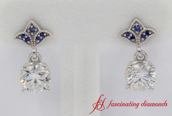 Art Deco Drop Earring With Sapphire