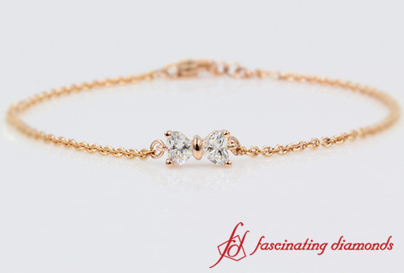 2 Heart Shaped Diamond Bracelet