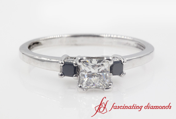 3 Stone Ring With Black Diamond