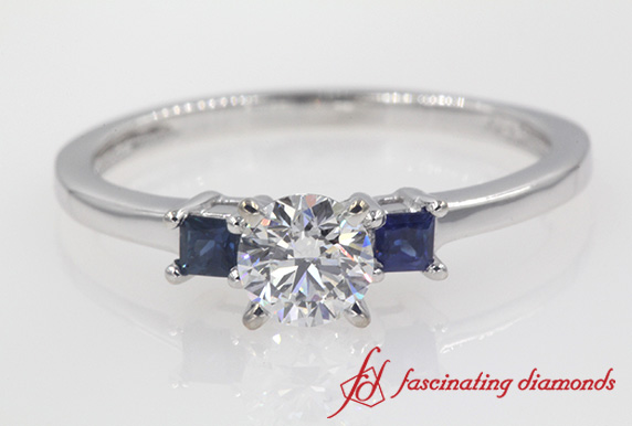 3 Stone Round Cut Engagement Ring