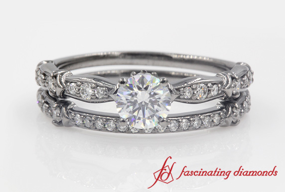 Pave Diamond Wedding Ring Set