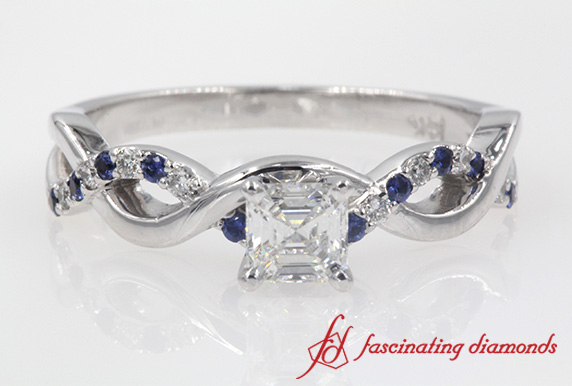 Asscher Cut Infinity Diamond Ring With Sapphire In White Gold