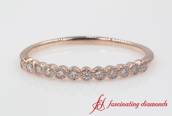Bezel Round Diamond Thin Wedding Band