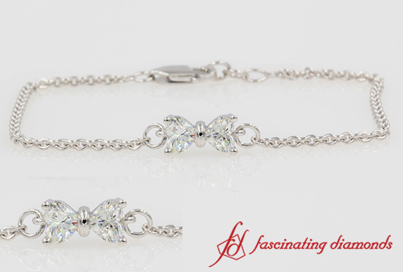 Bow Design Heart Diamond Bracelet
