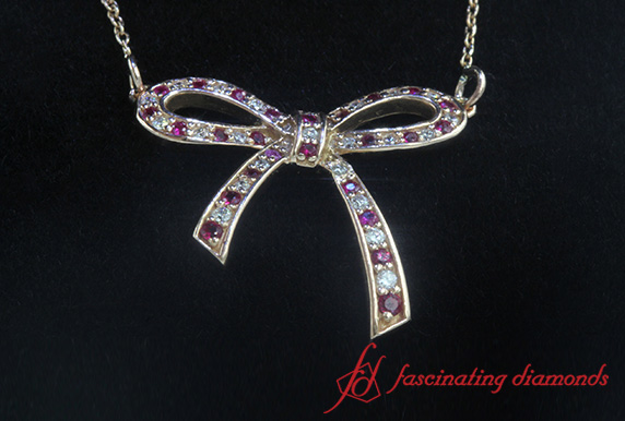 Bow Diamond Pendant Necklace For Women