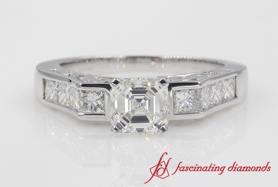 Channel Diamond Asscher Cut Ring