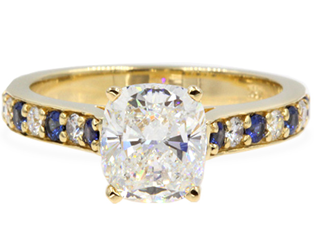 Cushion Cut Cathedral Diamond Sapphire Ring
