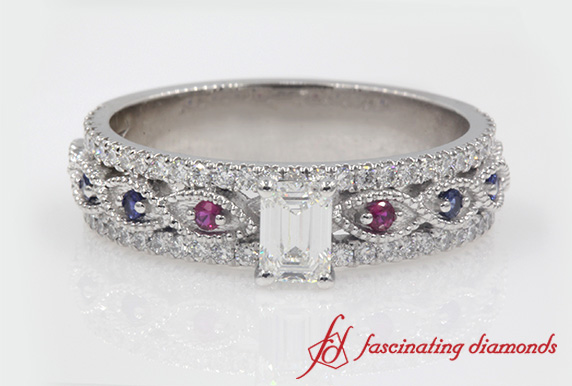 Customized Emerald Cut Milgrain Diamond Bridal Set With Sapphire In Platinum
