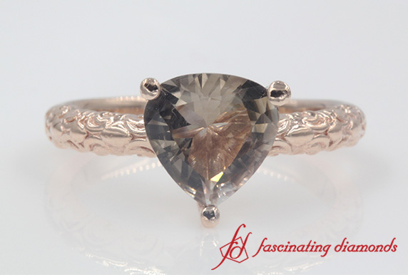 Filigree Trillion Solitaire Ring
