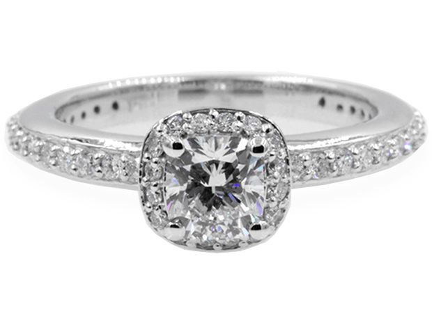 Delicate Cushion Cut Diamond Halo Engagement Ring