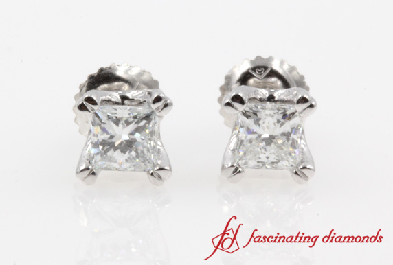 Double Prong Princess Cut Earring