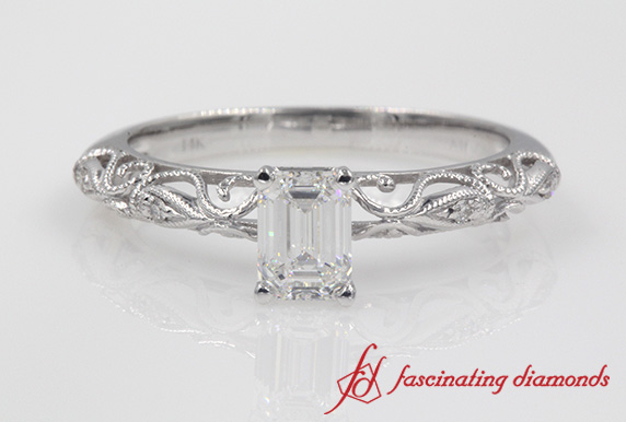 Emerald Cut Paisley Diamond Ring
