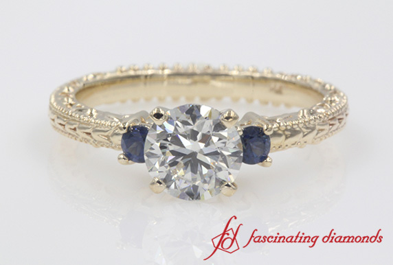 Engraved 3 Stone Sapphire Ring