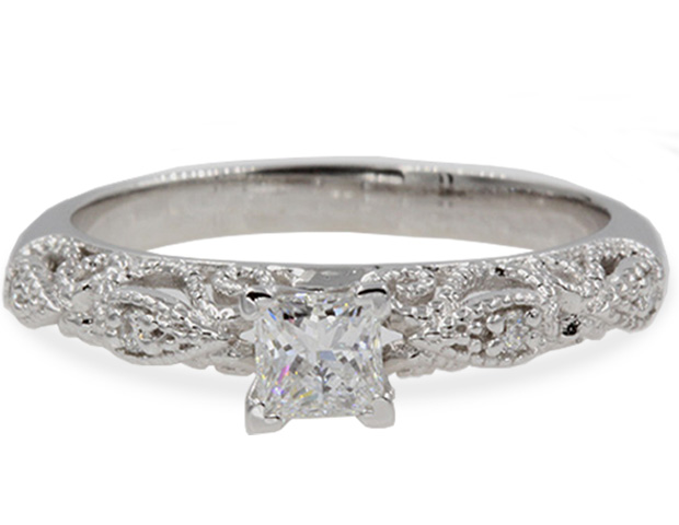 Filigree Princess Cut Diamond Ring