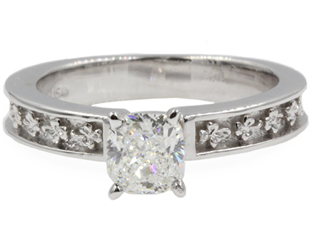 Floral Carved Cushion Cut Solitaire Engagement Ring