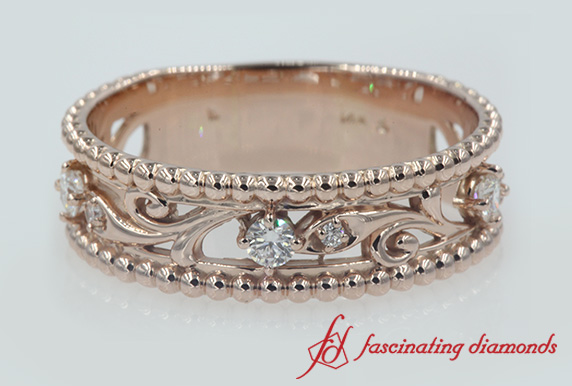 Floral Milgrain Diamond Band