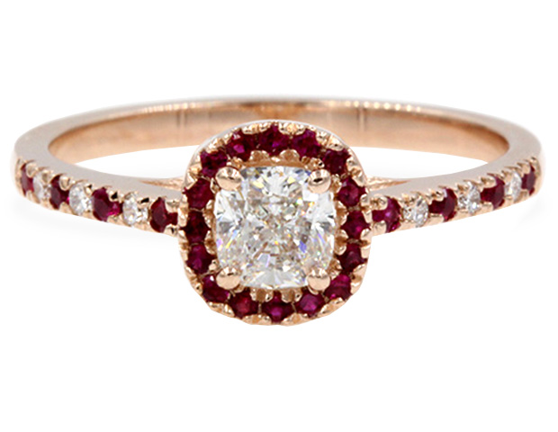 French Pave Cushion Diamond With Ruby Halo Ring
