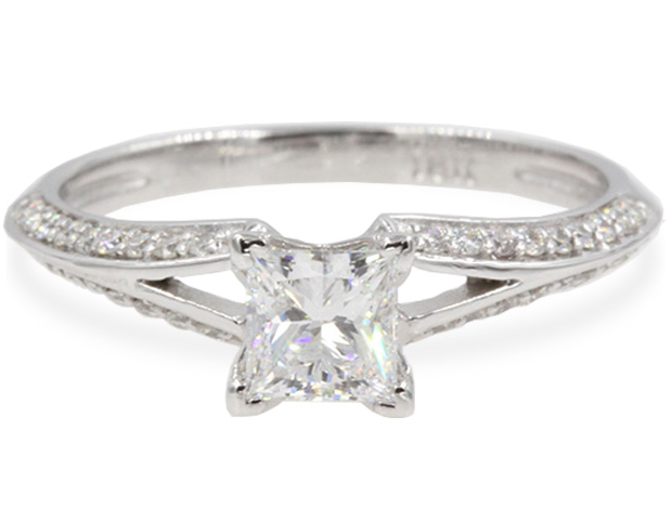 Delicate Split Princess Cut Engagement Ring